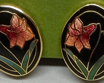 Vintage clip on earrings enamel gold tone floral design