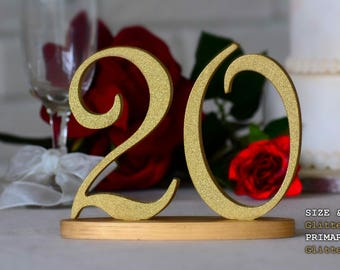 Gold Table Numbers, Handmade Table Numbers, Gold Glitter Table Numbers