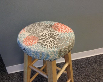 Floral elasticized round barstool cover, seat cover, counter stool cover, gray brown orange teal yellow blue colors, kitchen stool, washable