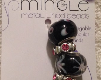 Darnice 5 piece Mix and Mingle Glass Metal Lined Beads....Interchangeable with Popular Brand Bracelets..... NEW