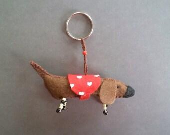 Felt Dachshund Keychain, Handmade Cute Little plush Wiener dog Keyring , Sausage dog Zipper Charm, Tiny Dauchshund