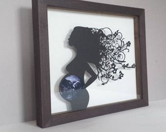 Baby Scan Papercut (Framed) - The Original Pregnancy Papercut for your ultrasound photo