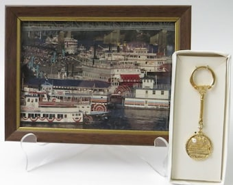 Tall Stacks Keychain and Steamboats at Covington Postcard