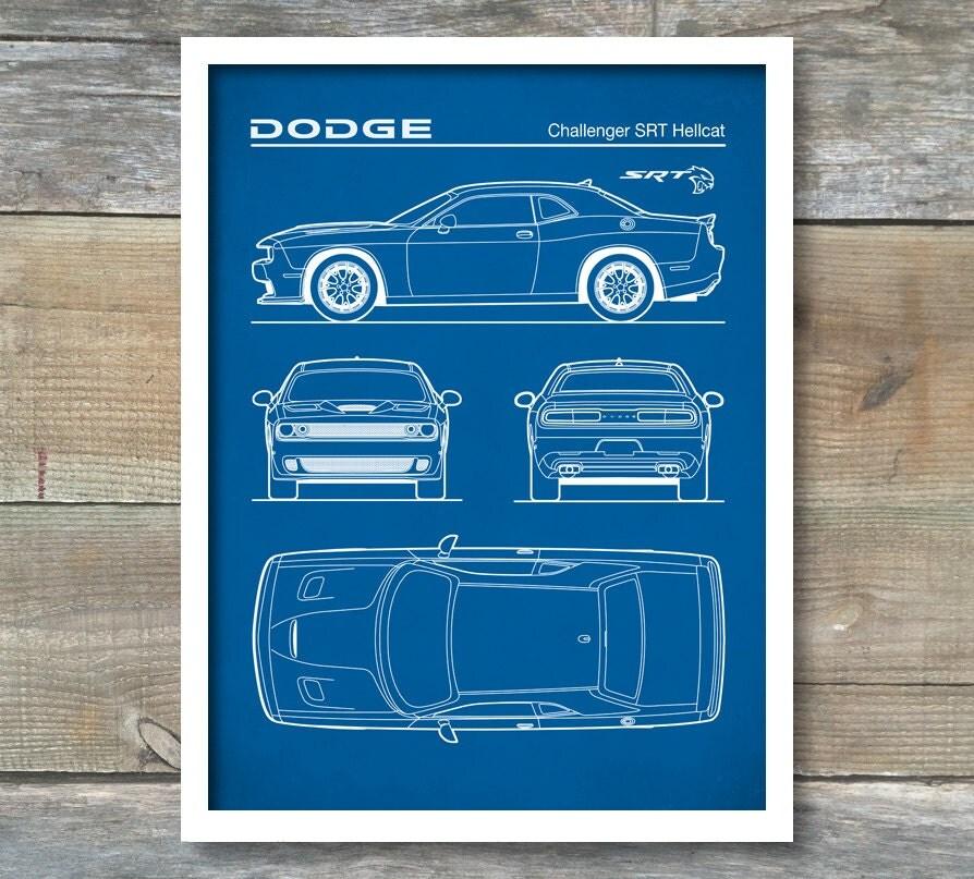 Auto Art Patent Print Dodge Challenger Hellcat Blueprint