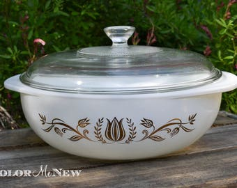RESERVED for Soumayia -Vintage Pyrex - Golden Tullip - Casserole Dish and Lid - 024 2 Quart