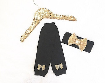 Baby girl clothes Gold glitter bows leg warmers and/or headband