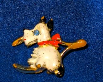 Vintage Scottie Dog and Wishbone White Enamel Figural Brooch