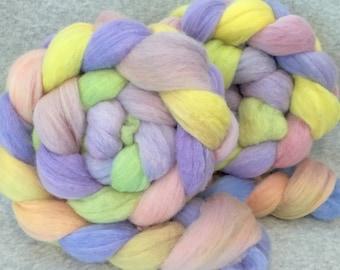 Hand Dyed Merino Wool Top - Spring Flowers