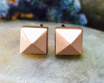 5x5MM Pyramid Stud Solid 14K Gold Geometric Minimalist Earrings *Fine Jewelry* (Free Shipping)