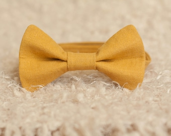 Golden Mustard Yellow Bow Tie, Men's and Boys Bowtie, Father's Day Photography Prop, Newborn Children Adult Graduation Suit Accessorie