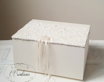 Wedding gift box for wedding gifts {Lace of Calais} in ivory cloth, lace embroidered with pearls