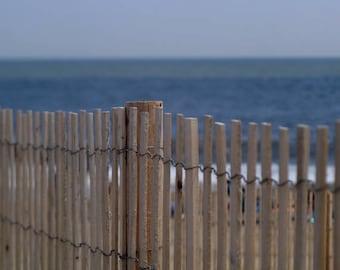 Beach Fence, Beach Bathroom Decor, Nautical Photography Print Beach Cottage  Decor, Beige Navy