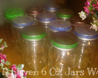 On sale now! Lot of 11; 6 Oz. Empty (residue free) Baby Food Jars W/Lids