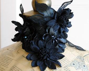 Dark Flowers Gothic Collar,Black Victorian Choker, Statement Neckpiece with Crystals-Custom-Made to Order