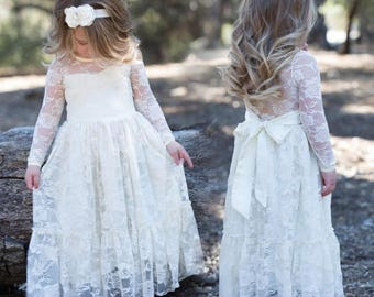 Flower Girl Long Sleeves or sleeveless Dress Lace Bow Sash Children First Communion White Ivory Navy D11