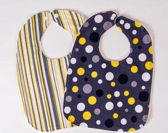 Bibs Yellow Black. Polka Dot Bibs. Stripe Bibs. Toddler Bibs. Baby Drool Bibs. Baby Shower Gift. Black Baby Bibs. Baby Bibs. Yellow Bibs.