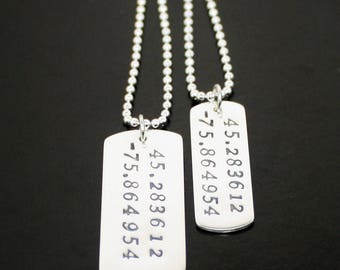 His and Hers Dog Tag Necklaces latitude longitude dog tags Sterling Silver Womens Mens Personalized Date Necklace Silver Wedding Anniversary