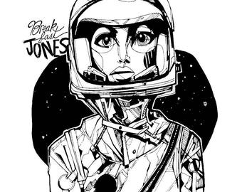 Madame Astronaut, Space Print, Vintage Astronaut, Females in Space
