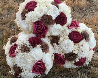CUSTOM BOUQUET, Beautiful Alternative Sola Flower Bouquet, Spring Wedding Bouquet, Wine and Ivory, Alternative Bouquet