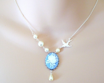 Beaded Cameo Necklace, Victorian Style Necklace, White Rose Cameo, Little Silver Bird Necklace, Pearl Necklace, Something Blue