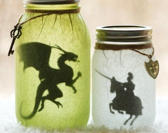 Medieval Knight - Medieval Dragon - Dragon Slayer - Nursery Decor - Dragon Jar - Night Light - Dragon Decor - Mason Jar Decor - Luminary