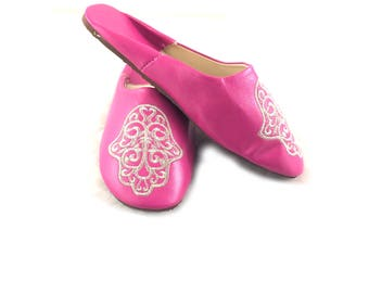Moroccan slippers,Hamsa Moroccan babouche,Sequin slippers, Beach sandals - FREE Shipping in the United States.