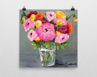 Perfect Harmony - Floral Art Print by Sharon Sudduth 10x10 inch