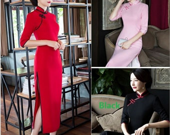New Arrival 2017 Cashmere Wool fabric Slant Opening 5 minutes of sleeve  Cheongsam Dress Tang Suit Full Dress