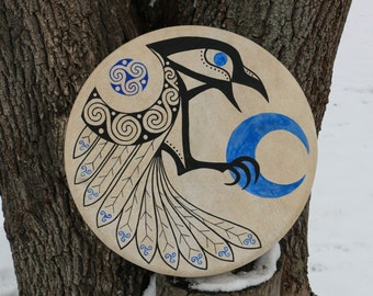 Celtic CROW SHAMAN Frame DRUM Shamanic Drums Crow Pagan Musical Instrument Bodhran Irish Raven Hand Painted Animal Bird Triskele Blue Moon