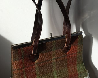 Vintage (circa 60s) Wool Tartan Tweed Handbag with Leather Handles and Silver Trim and Clasp-Excellent Condition.