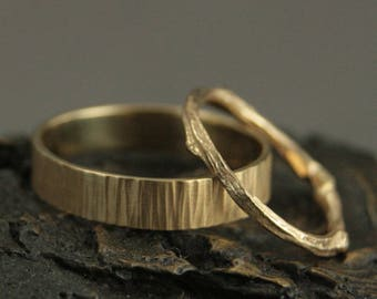 Gold Wedding Set~Branch Wedding Bands~His and Hers Wedding Rings~Woodland Wedding Set~Gold Twig Ring~Gold Bark Ring~Rustic Wedding Bands