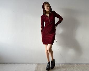 vintage dark red long sleeve knee length hooded dress in jersey corduroy