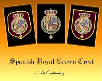 """Spanish Royal Crown Crest - Coat of arms of the King of Spain, Heraldic Designs set for hoop 5x7"""""""
