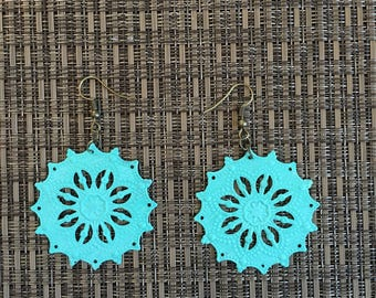 Turquoise Hand Painted Filigree Earrings