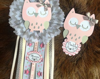 Owl baby shower corsage/ Mon to be corsage/ Owl theme/ Baby shower corsage/light pink and Gray Owl / daddy to be