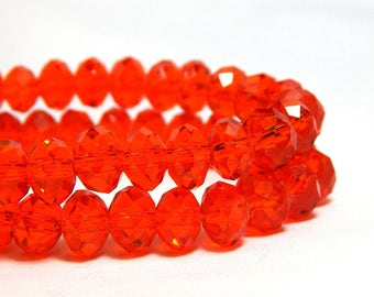 Red Orange Crystal Beads, Crystals, Tiaria Crystal Beads, Red Orange Beads, Orange Beads, Crystal Beads, Red Crystals, Red Rondelles,  D-C40