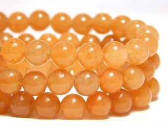6mm Orange Aventurine, 6mm Aventurine, 6mm Orange Beads, Orange Beads, 6mm Red Aventurine, 6mm Orange Gemstones, 6mm Gemstones, B-7A