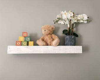 White Washed Nursery Floating Shelves Reclaimed Custom Wood Display Shelf
