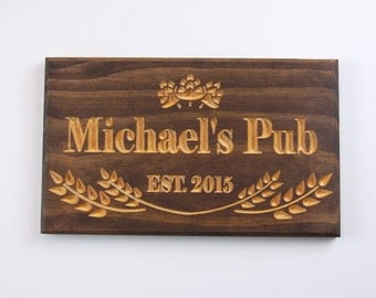 Personalized Wood Bar Pub Man Cave Sign