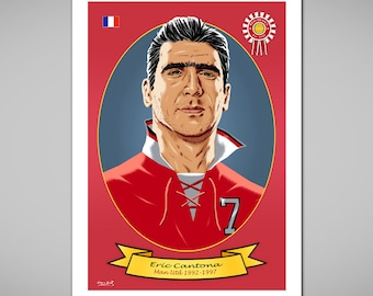 ERIC CANTONA Manchester Utd Football Legend Art Print,Classic 1993 Man United Red Football Shirt,Club Dates,A & US size Posters,Soccer Gift