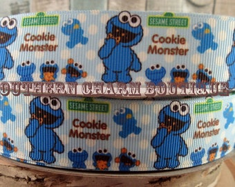 "3 yards of 1 ""cookie monster grosgrain ribbon"