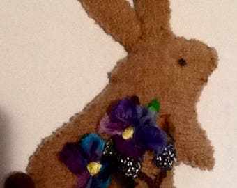 Bunny Ornament with Silk Ribbon Embroidery