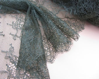 Army green Chantilly  Lace trim,  Eyelash Lace Trim with pink cording for sewing, Shawls, Skirt, Lingerie