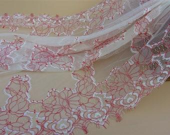 Red Chantilly Lace Fabric ,1yard eyelash lace fabric Bilateral Eyelash Lace, French Style Wedding Dress  lace