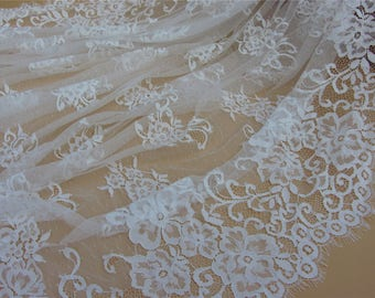 "Chantilly lace,off white Lace Fabric by yard   for Wedding Gowns, Bridal Veils, Mantilla,59"" eyelash lace fabric, black lace fabric"
