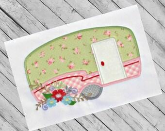 Camper Applique Design, Machine Applique Pattern, Summer Applique, Flower Embroidery Design