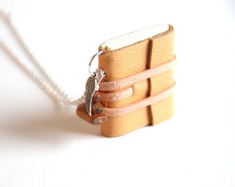 Mini Journal Necklace, Love Notes, Small Book Pendant, Notebook Necklace, for Book Lovers, Girls Gift, Writers, Lovers, Romantic Gift