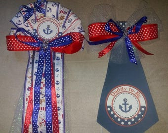 Mommy & Daddy Nautical Ocean Sailor Theme Baby shower corsage and Tie set