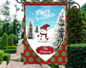 Merry Christmas Snowman Garden Flag, Christmas Garden Flag,  Christmas Yard FLag,  Christmas Flag, Housewarming Gift, Christmas Decorations