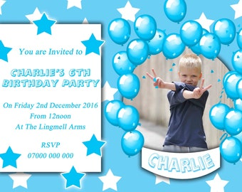 Personalised Party Invitations. Party event invites. Any Name age or occasion celebration - A022